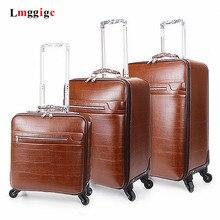 PU Vintage suitcase,Business universal wheel trunk,Fashion trolley case,Trolley bag,Light porble luggage,20 inch Boarding BOX