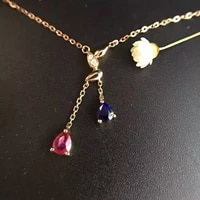 0 500ct0 012ct 18k gold natural ruby sapphire and pendant necklace diamond inlaid 2016 factory direct fine ruby jewelry
