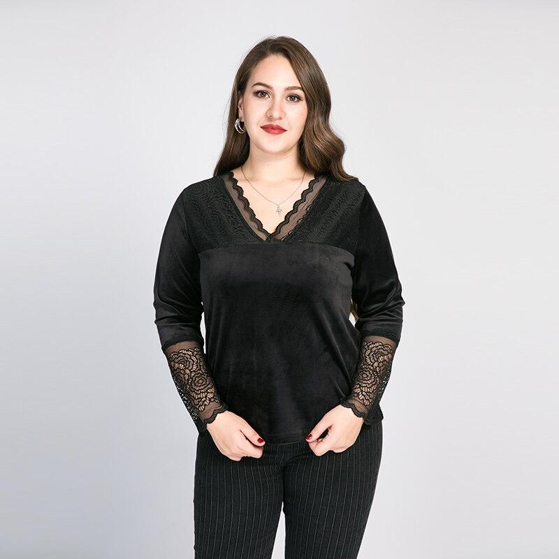 RL Fuiisky Plus Size Black Slim Lace T-shirt Wavy Lace Design Spring Autumn New Elegant Velvet Solid Casual Blouse Tops
