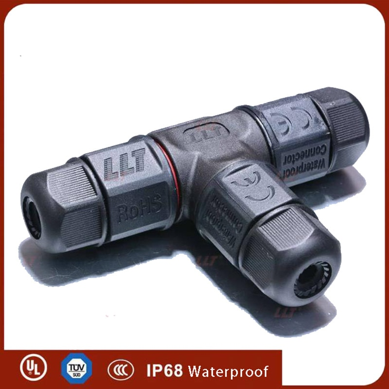 T cable con forma conector IP68 AC DC 25A 2 3 4 Pin eléctricos conectores impermeables de tornillo sellado ignífugo caja