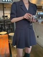 CMAZ Matching Set Blazer And Skirts Women Simple Style Coat   Skirt Short Black Feminino Femme Two Piece 546