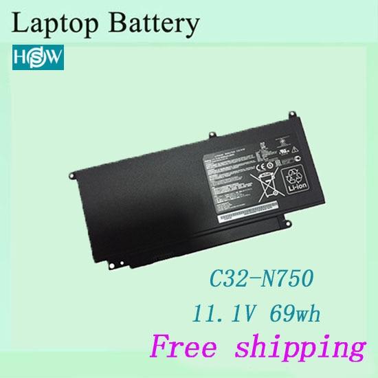 Hot sale C32-N750  laptop battery  For Asus N750 N750JK N750JV Series  battery free shipping