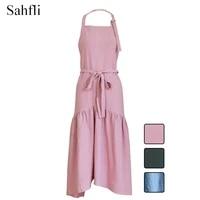 japanese cotton fishtail decorative lady sleeveless apron lengthening slim elegant custom overalls with double sides pocket tool