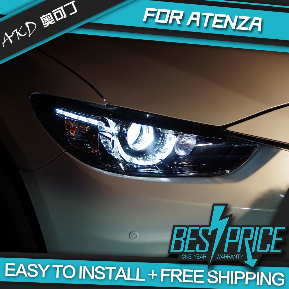 AKD coches de diseño faro para Mazda 6 Mazda6 Atenza 2013-2016 faros LED luces Bi-xenón de faros de niebla tipo Ojos de Ángel