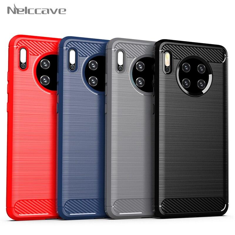 10 Uds de fibra de carbono funda de silicona para Huawei Mate 30 20 20X 10 9 Y9 Y7 Y5 Y6 Pro 2019 Nova 7 6 5 5T 5i Anti-huella digital de la cubierta