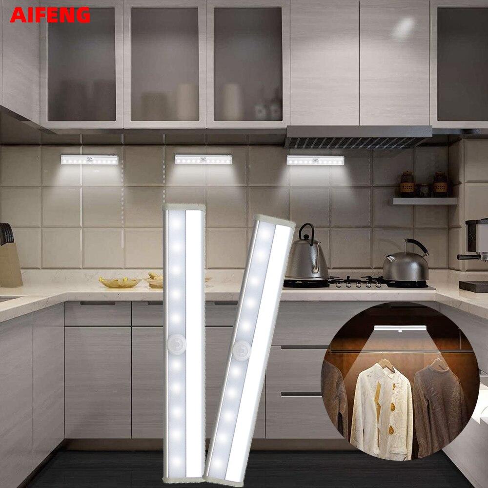 Luz LED con Sensor de movimiento infrarroja armario lámpara de noche 6 / 10LED gabinete luz para armario escalera Cocina