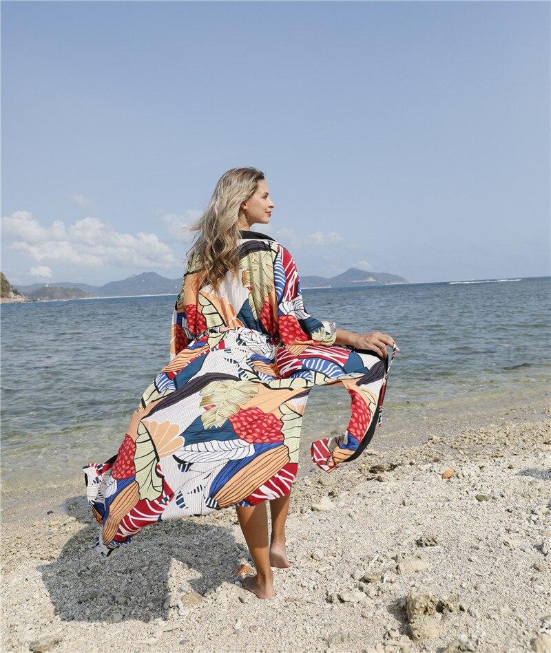 Vestido De playa para mujer túnica kaftán Pareo Saida De Praia sedosa tricromática hechizo traje De baño acetato Animal Bikini cubrir