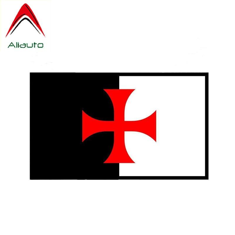 Aliauto Car Accessories Cross Templar Escudo de caballeros impermeable reflectante creativo calcomanía PVC pegatina para Suzuki, 13cm * 8cm