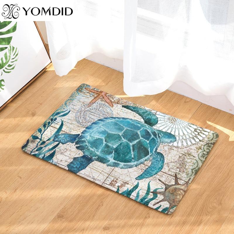 Коврики с принтом черепахи гиппокамп с рисунком осьминога Кита, коврик для ванной комнаты, пол, кухонные коврики 40x60 50x80 см, противоскользящий ковер
