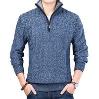 Новый зимний мужской свитер, Повседневный пуловер, мужские теплые свитера, мужские облегающие вязаные пуловеры с воротником-стойкой, мужск...