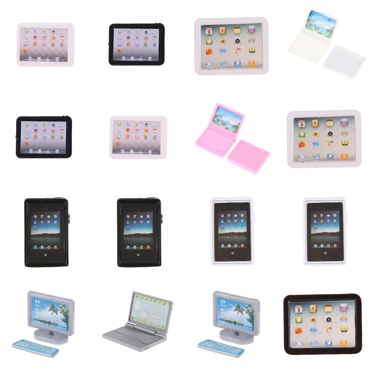 Mini Computer Model Simulation Tablet PC Toys 1/12 Dollhouse Miniature Accessories Doll House Decora