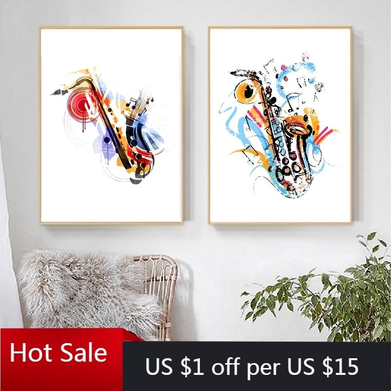 Sax Arte Abstracto Vintage saxofón cartel música cuadro sobre lienzo para pared Regalo De músico pared de la habitación del hogar decorativo
