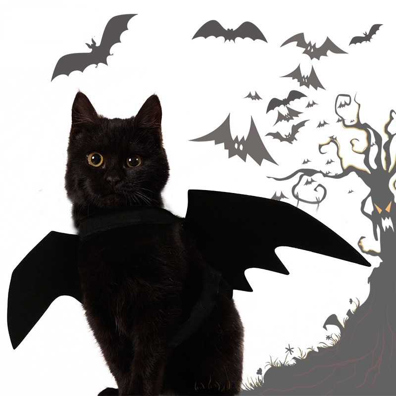 halloween magician style cotton coat cap suit for pet cat dog white black s Halloween Pet Bat Wings Cool Dog Cat Black Bat Costume Halloween Cosplay Cat Dog Halloween Party for Pet Supplies