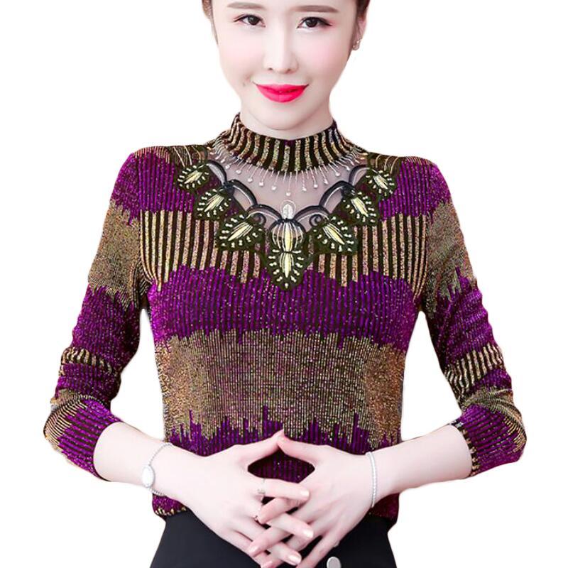 Blusa de encaje Lurex brillante a rayas para mujer, camisas bordadas con...