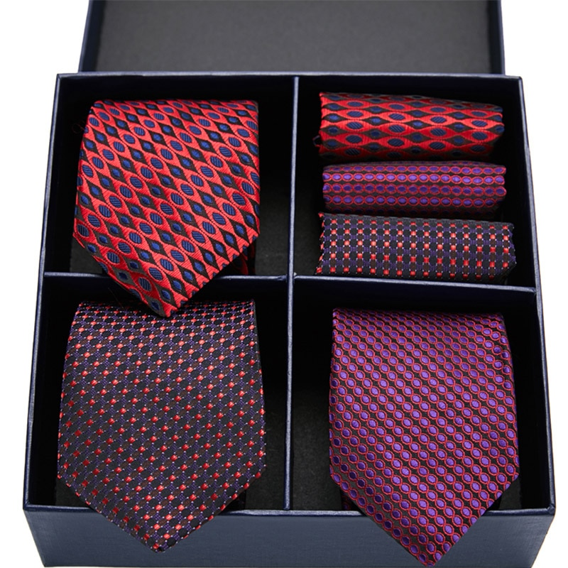 Gift box Pack Mens Tie Skinny Pink palid 100% Silk Classic Jacquard Woven Extra long Tie Hanky Set For Men Formal Wedding Party