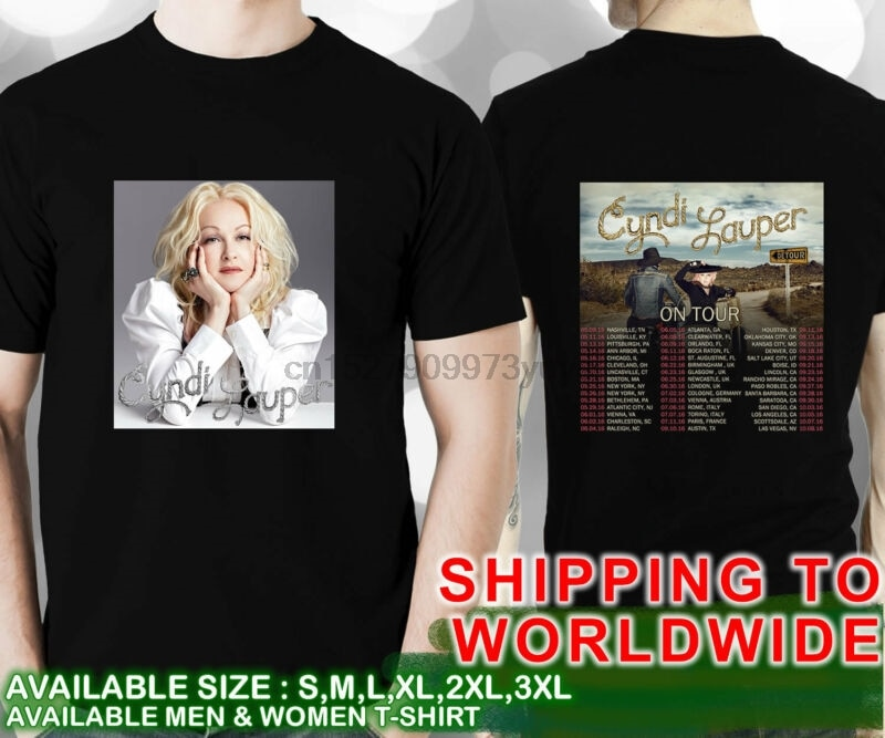 Cyndi Lauper De las fechas De la gira De 2016 Unisex negro T camisa