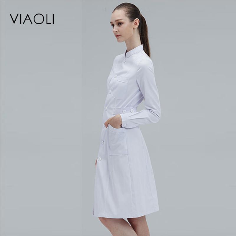 Viaoli manga larga cuello las mujeres médicos capa uniforme médico bata de laboratorio, Hospital Doctor Slim color múltiple