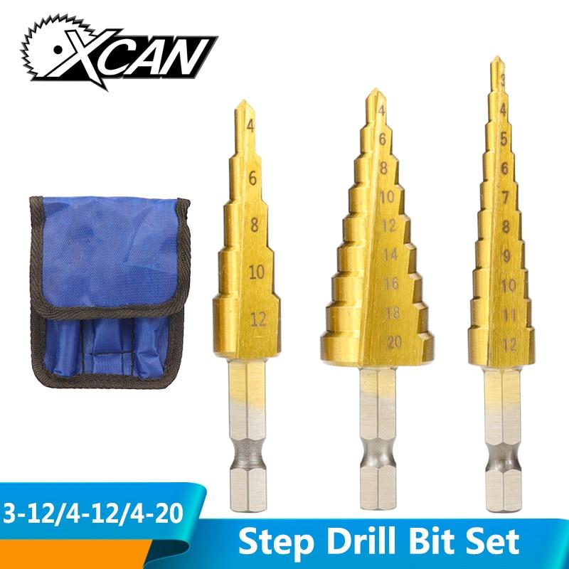 3 stks 3-12mm 4-12mm 4-20mm HSS rechte groef stap boor set titanium gecoat voor hout en metaal gat cutter kern boor set