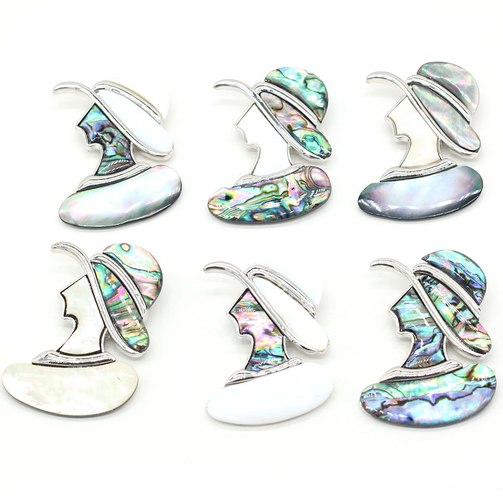 Fashion European Natural Shell Series Beauty Avatar Brooches for Jewelry Making Beauty Head Pendant Brooch Pins Gift 40x45mm  - buy with discount
