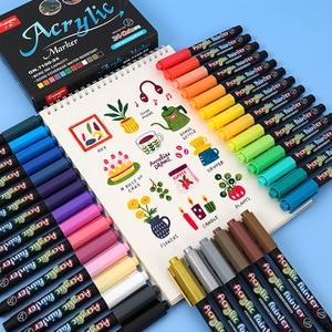 12/24/36 Colors Acrylic Paint Brush pen Art Marker Pen for Ceramic Rock Glass Porcelain Mug Wood Fabric Canvas Painting