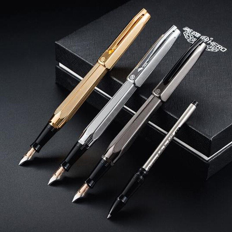 Hero 2191 14K Gold Nib Fashion Collection Fountain Pen Engraving Ripples Two-head M Nib Gift Pen For Office & Home W/Gift Box