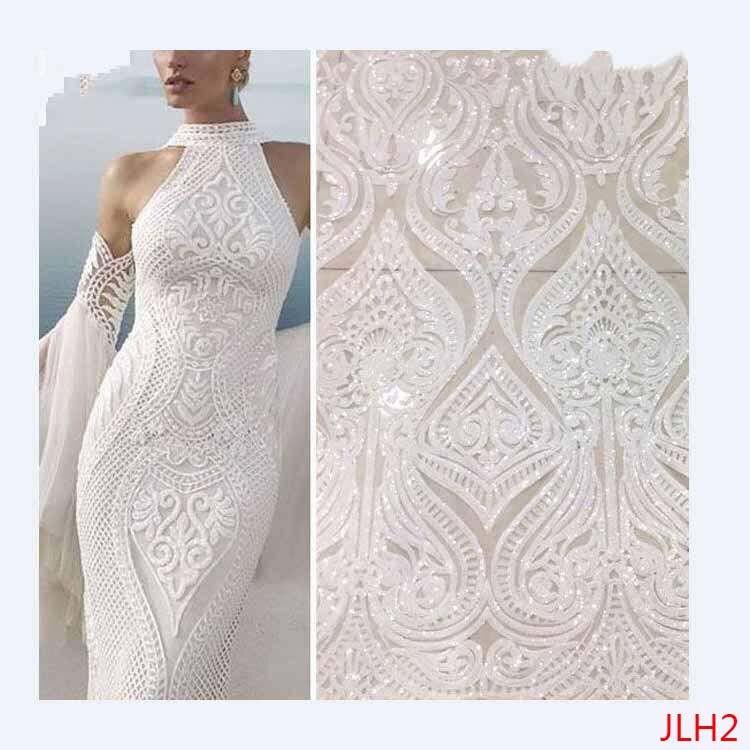 Gran oferta, encaje francés africano, lentejuelas, tela de encaje blanco de alta calidad, tul africano, tela de encaje marfil, vestido de novia JLH2