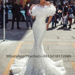 2021 White Feather Mermaid Prom Evening Dresses Long Lace Short Sleeves Satin Of the Shoulder Women's Evening Gown