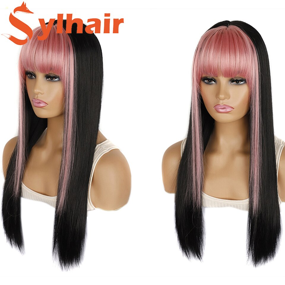Long Straight Synthetic Wig Highlight Pink Grey Lolita Girl Cosplay Natural Hair With Bangs Anime For Women Halloween Sylhair