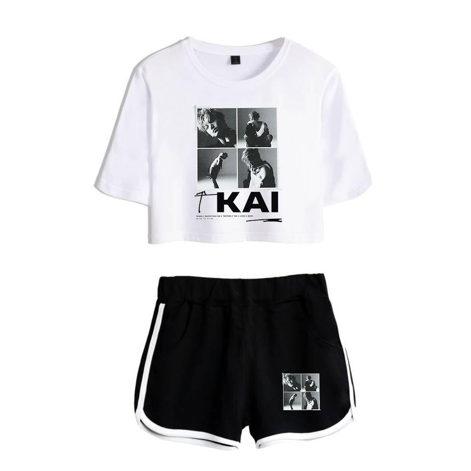 Kpop NEW Team super M Taemin BAEK HYUN KAI Taeyong MARK LUCAS TEN Women Two Piece Set Shorts+lovely T-shirt Hot Sale Clothes