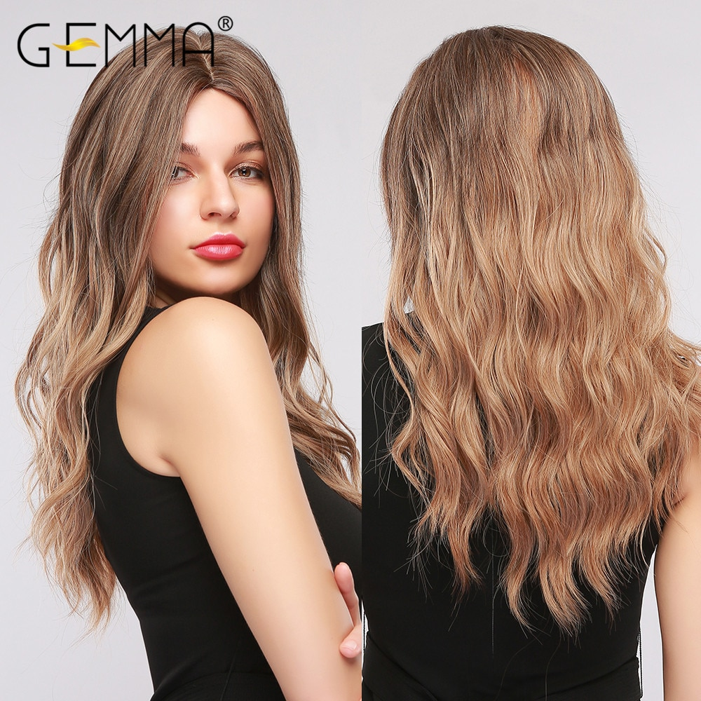 GEMMA Long Wavy Wig Ombre Brown Synthetic Wigs for Black Women Middle Part Cosplay Party Daily False Hair Heat Resistant Fiber