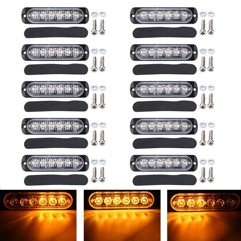 Lámpara estroboscópica para Flash, 10 Uds., 18W, ámbar, 6 leds, luz de emergencia, 12V-24V, 18 modos