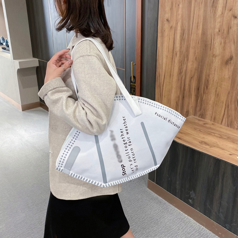 Large Capacity Handbags Casual Women Canvas Tote Bag Creative Hobos Mask Shoulder Bags Female Fashion Trendy Ladies Shopper Bags pu leather women underarm bag handbags large capacity ladies daily small casual tote fashion solid color female shoulder bags