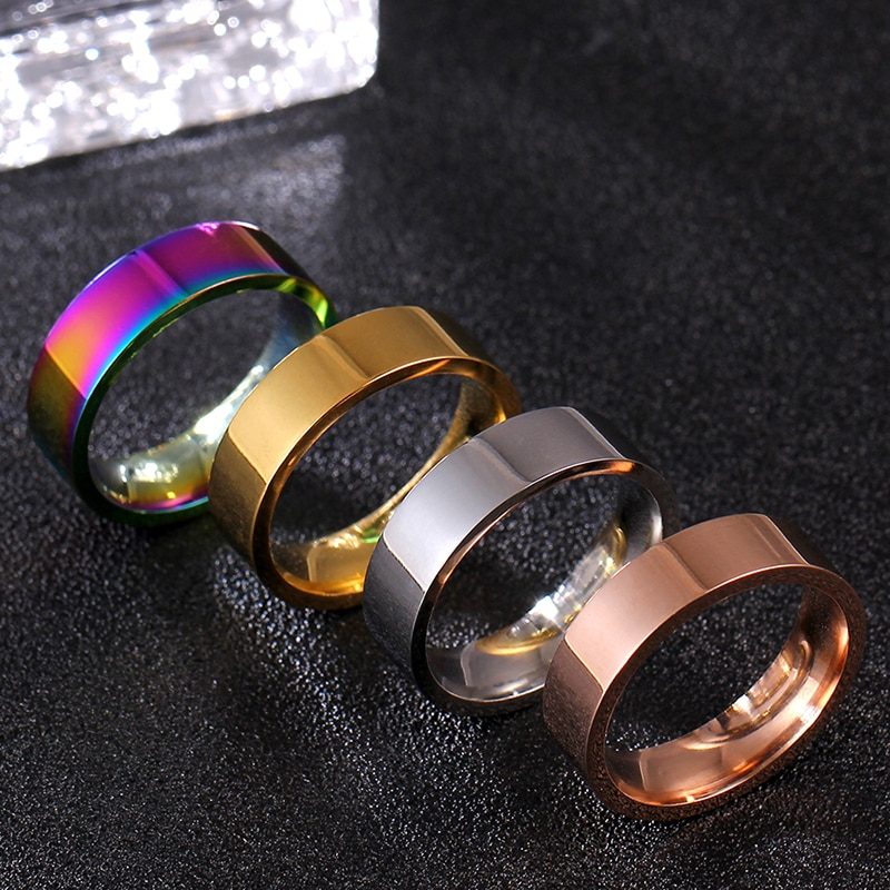 MOREDEAR 6MM Rainbow Titanium Band Stainless Steel Solid Ring for Men and Women Personalized Ring Customize Ring Engraved Ring