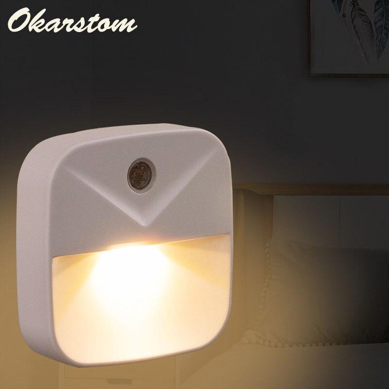 Luz Nocturna LED, Mini Sensor de Control de luz, 220V, enchufe europeo, luz nocturna para niños, sala de estar, dormitorio, pasillo, lámpara de cocina