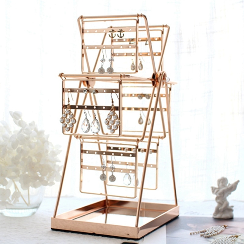 Ferris Wheel Shaped Earring Storage Box, Metal Earring Holder, Jewelry Display Stand, Decorative Storage Rack, Earrings