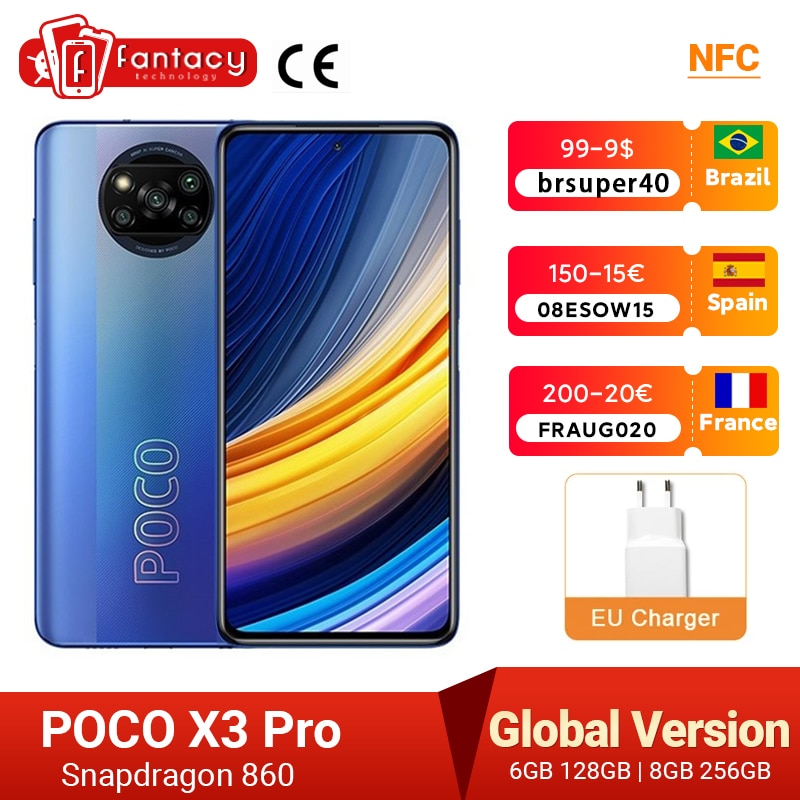 In Stock Global Version POCO X3 Pro Smartphone NFC 33W Charge Mobile Phone Snapdragon 860 48MP Quad Camera 6.67'' 120Hz 5160mAh