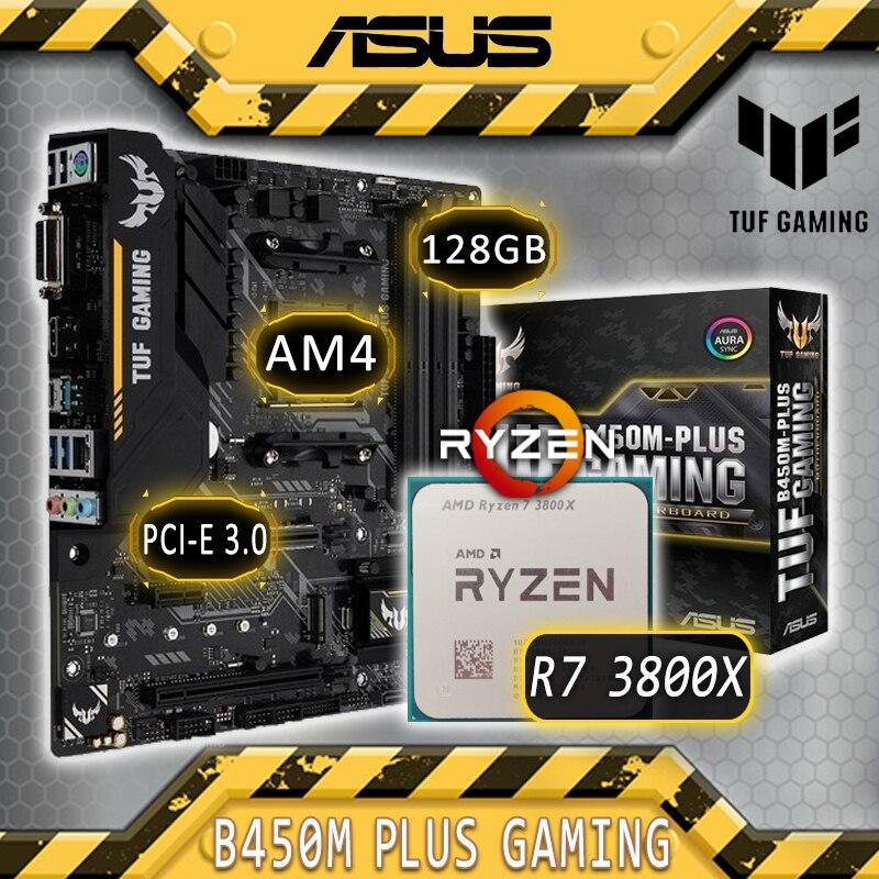 Asus TUF B450M-PLUS GAMING With AMD Ryzen 7 3800X Gaming Motherboard Combo Ryzen Kit 3800X CPU AMD B450 Gaming Placa-mãe Kit AM4