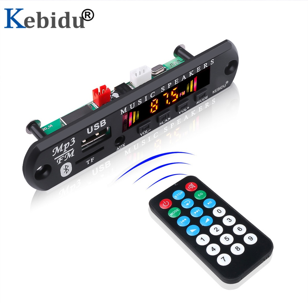 Kebidu Color Screen Bluetooth 5.0 Receiver Car Kit MP3 Player Decoder Board Support FM Radio TF USB 3.5 Mm AUX Audio For Car DIY