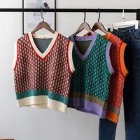 chic vintage argyle sweater vest for women 2021 autumn winter pullover vest knitted vest sleeveless jecket gilet femme
