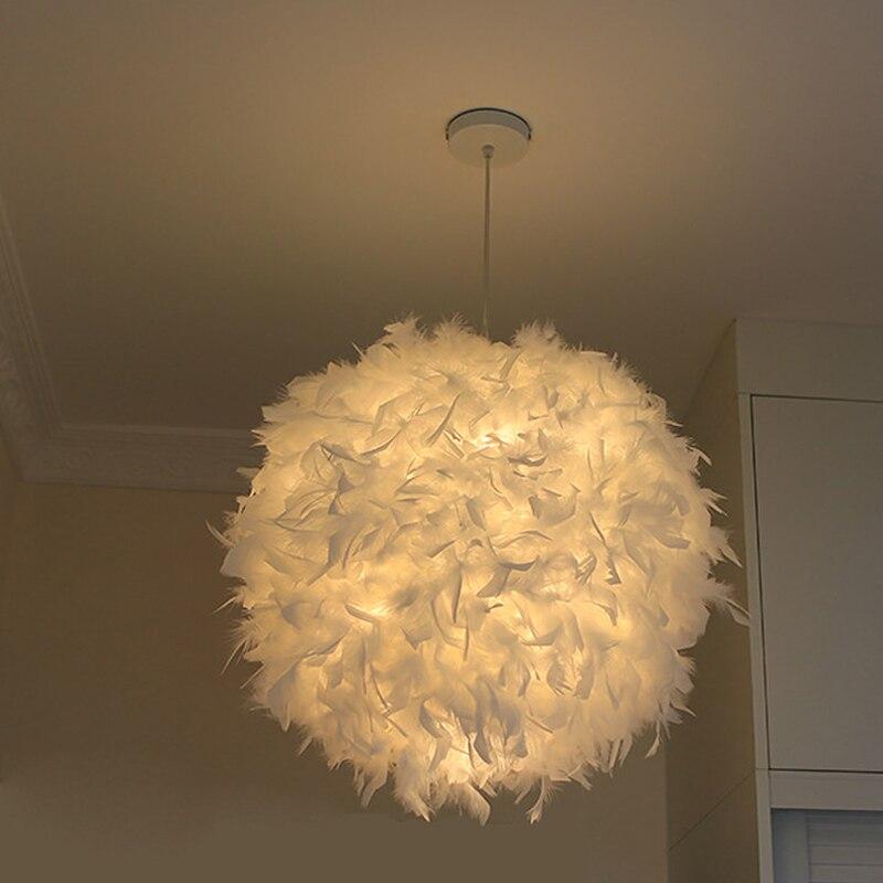الشمال قلادة ضوء الأبيض ريشة مصباح ضوء السقف Led القمر Plafonniers Hanglamp Led أضواء E27 لغرفة النوم ديكور المنزل