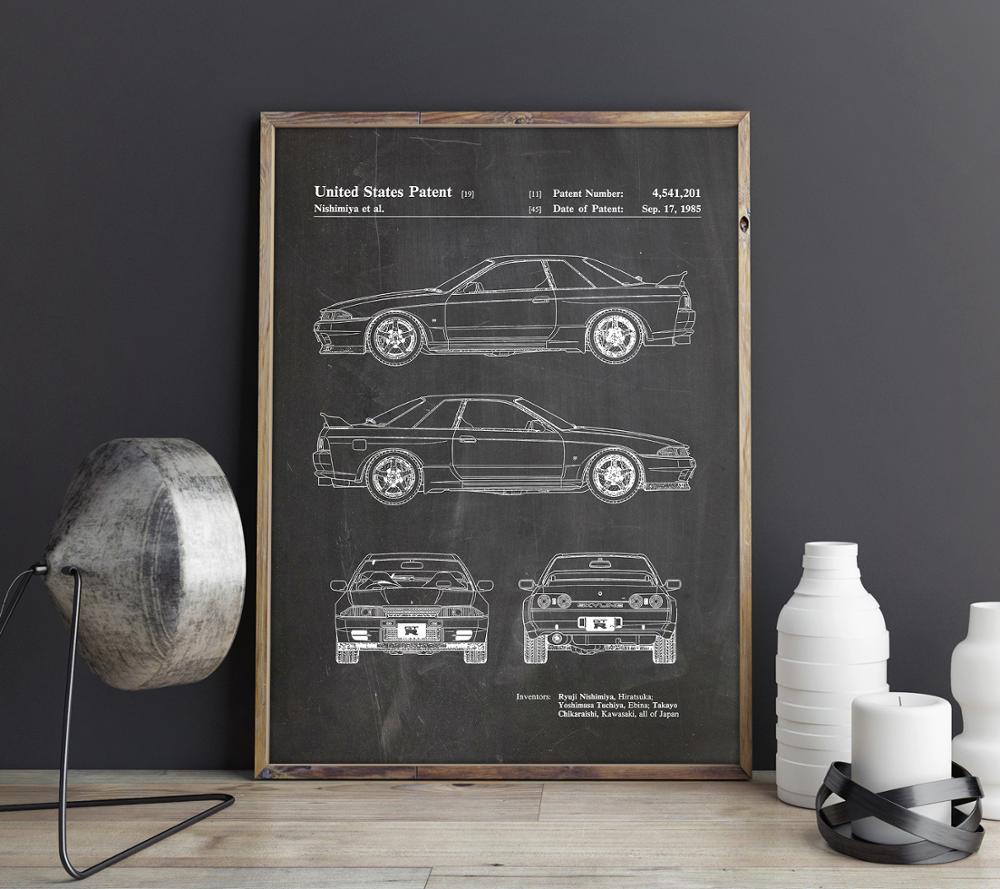 Car Patent for Nissan GTR, artwork,Sports Car canvas wall art poster, room decor, print,blueprint, gift idea,wall Decorations