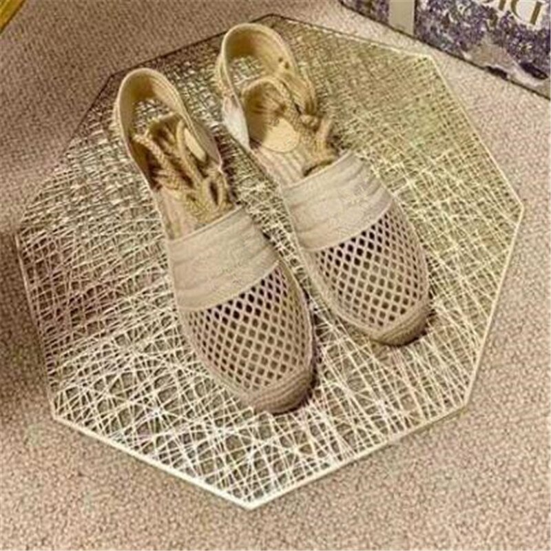 ollymurs New Summer Fashion Breathable Mesh Gladiator Lace Up Luxury Brand Espadrilles Sandals Flats Shoes Women