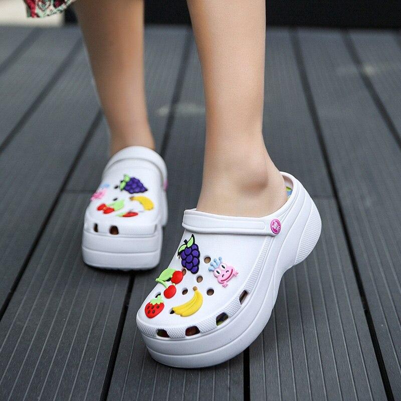 AliExpress - Summer Women Croc Clogs Platform Garden Sandals Cartoon Fruit Slippers Slip On For Girl Beach Shoes Fashion Slides Outdoor