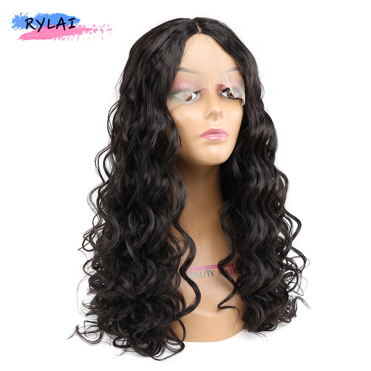Isabel Natural Wave Hair Wigs Type T Lace With Adjustable Strap Synthetic Curly Heat Resistant Fiber 22Inch Off Black Daliy Use