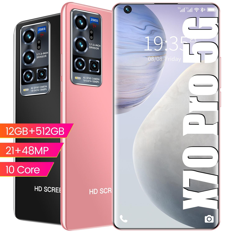 2021Smart Phone X70 Pro 16Gb Ram 512Gb Rom 5G Dual SIM straight talk cell phones Android 10.0 MTK 6799 Deca Core Mobile Phones