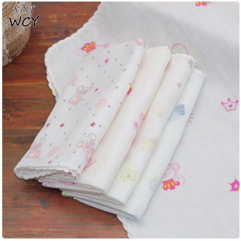 31*31cm toallas de algodón de gasa de alta densidad Carton Kawaii suave cara toalla cuadrado 0-2T niños cosas de bebé paño de lavado Cosas Para Bebe