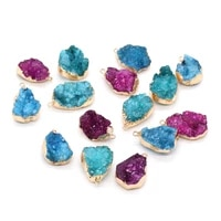1pc natural stone druzy pendants water drop gold plated druzys charms for jewelry making diy women necklace earrings