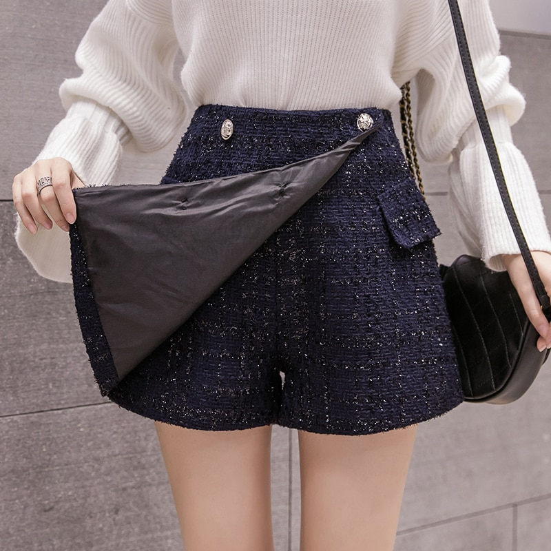 Buttons Tweed Wide-legged Shorts Skirts Autumn Winter Women Fashion Empire Girls A-line Bottoms BH6197