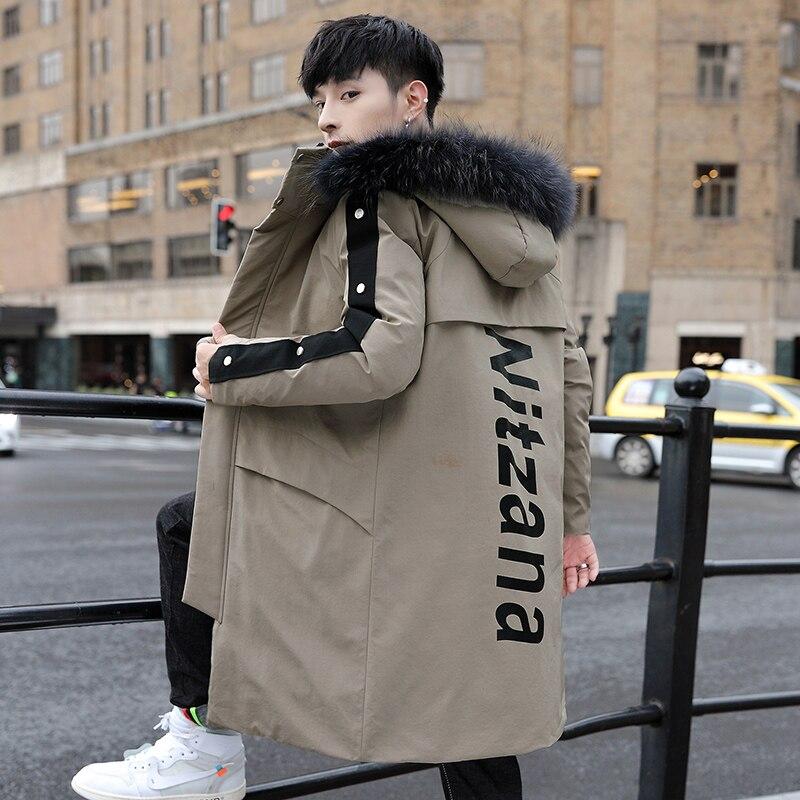 Новая высококачественная длинная мужская куртка с большим меховым воротником Съемная зимняя шапка сохраняет тепло и водонепроницаемость