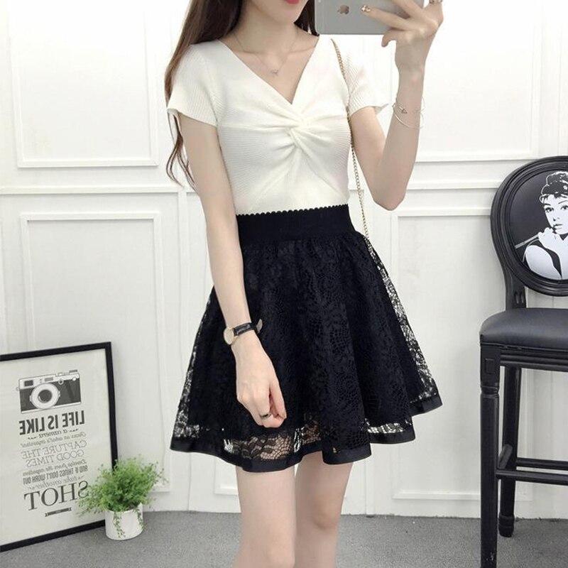 Dress fashion high waist lace skirt sweet lovely girl dance miniskirt Cosplay college uniform skirt